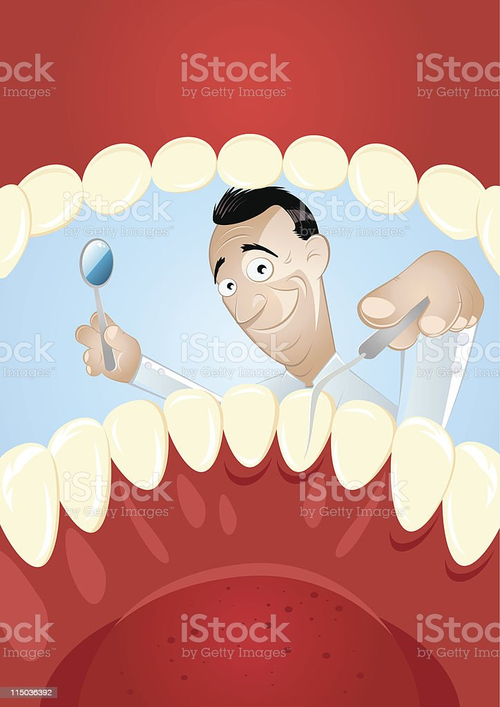 funny cartoon dentist vector art illustration