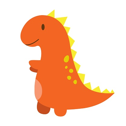 Funny cartoon dinosaur, cute illustration in flat style. Colorful print for clothes, books, textile, design and decor. Illustration for babies, kids and children