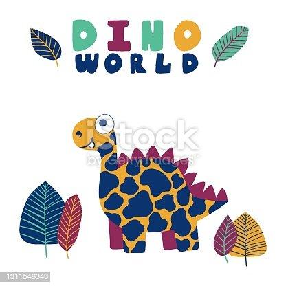 Funny cartoon dinosaur print for children stock vector illustration