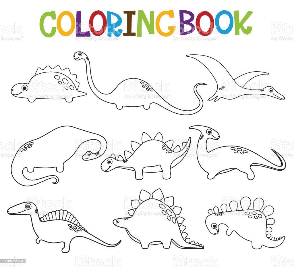 Komik Karikatur Dinozorlar Koleksiyonu Boyama Kitabi Stok Vektor