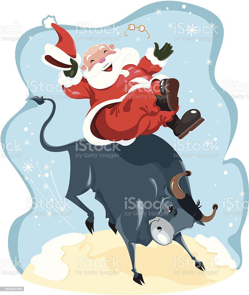 Funny cartoon displayed Santa on rodeo royalty-free stock vector art