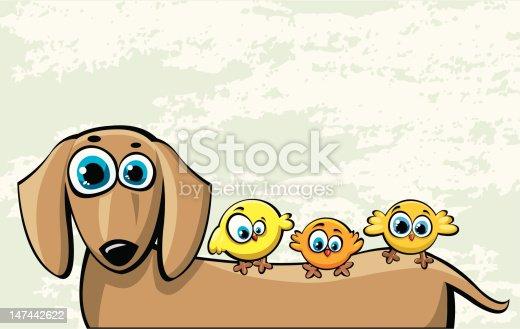 istock Funny cartoon dog and three birds 147442622