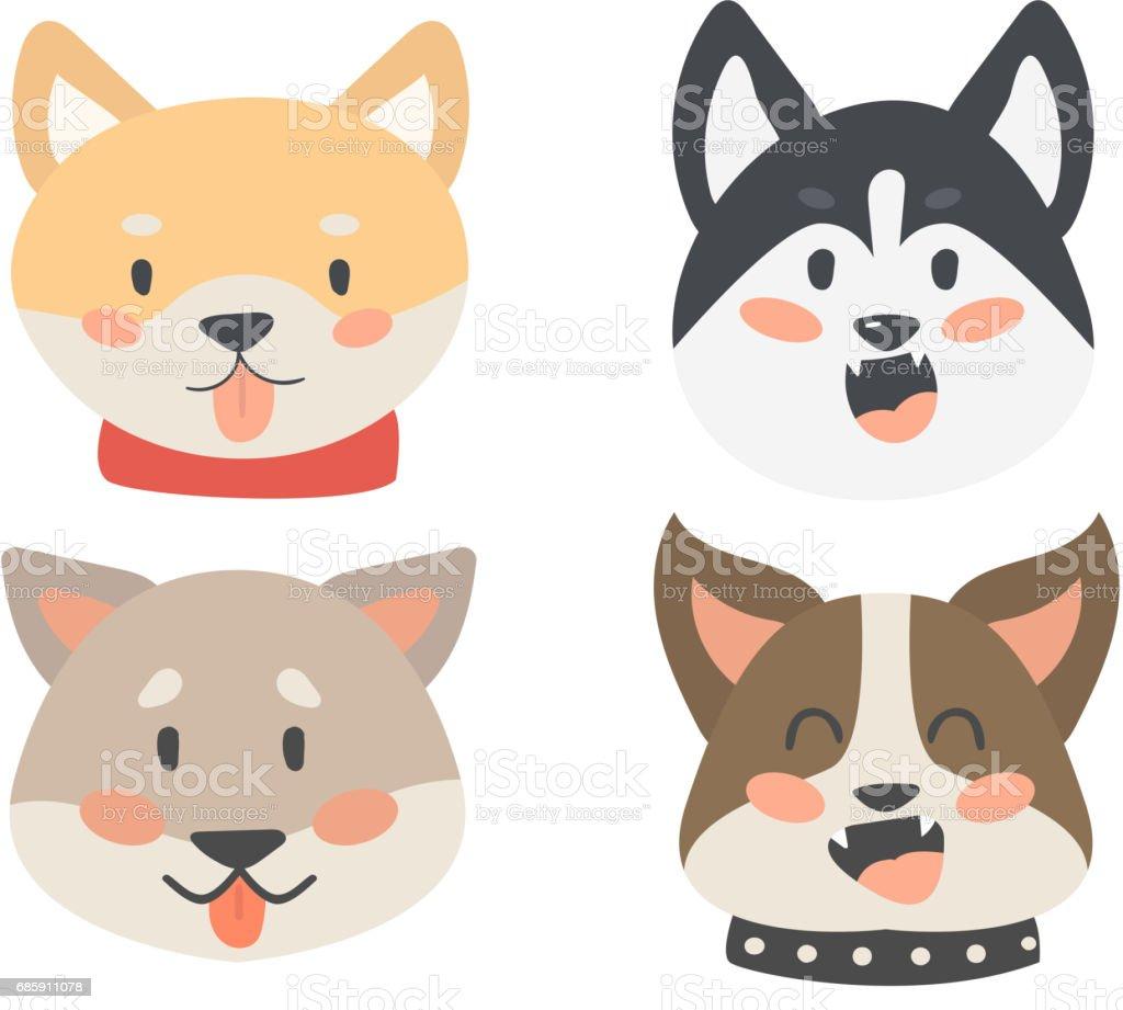 Komik Karikatür Köpek Karakter Kafaları Ekmek Karikatür Köpek Dostu