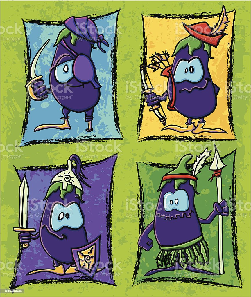 Funny cartoon eggplants warriors on the background royalty-free stock vector art