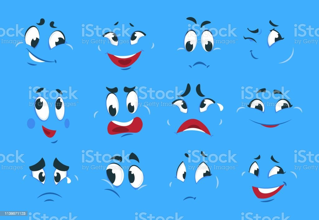Funny cartoon expressions. Evil angry faces crazy character sketches...