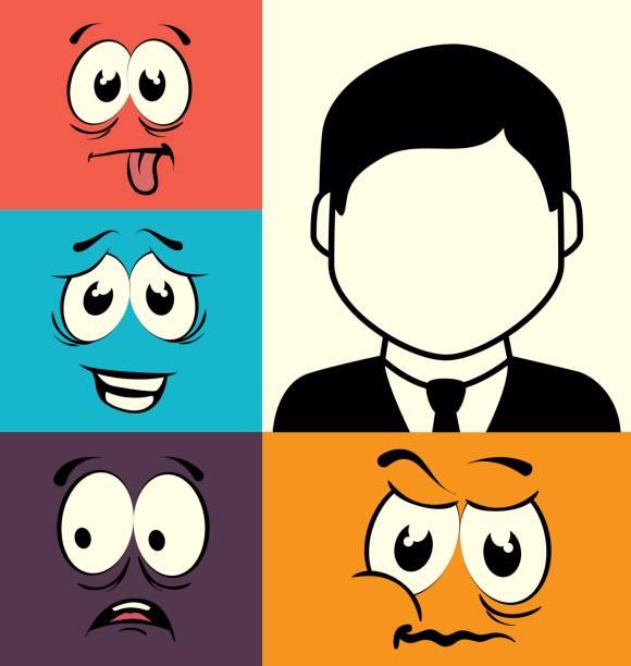 Lustige Karikatur Gesicht Grafik desig – Vektorgrafik