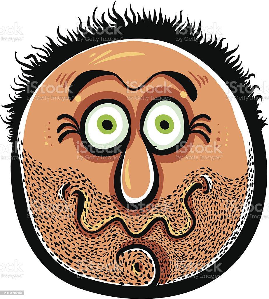 Funny cartoon face with stubble, vector illustration. vector art illustration
