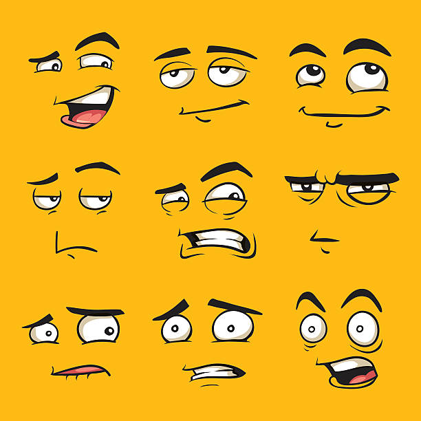 Funny cartoon faces with emotions. vector art illustration