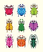 Funny cartoon fantasy bugs set.
