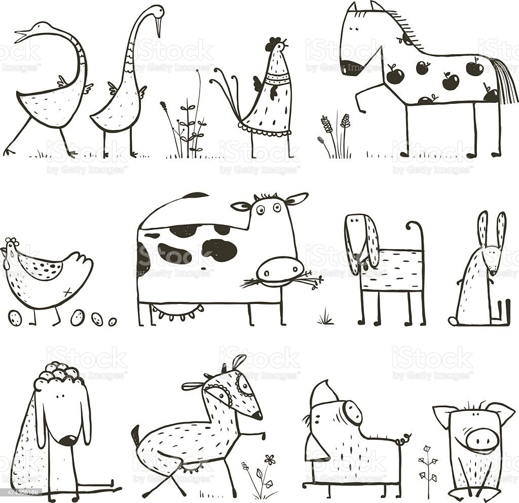 Funny Cartoon Farm Domestic Animals Collection for Kids Coloring Page vector art illustration