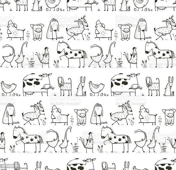 Funny cartoon farm domestic animals seamless pattern for kids vector id474368176?b=1&k=6&m=474368176&s=612x612&h=dstnak0olothuiq6t4wufby8 3xt1b35ynaxudbohrm=