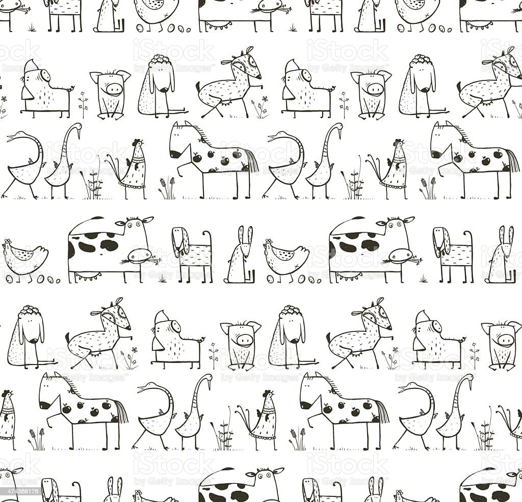Funny Cartoon Farm Domestic Animals Seamless Pattern for Kids Coloring vector art illustration
