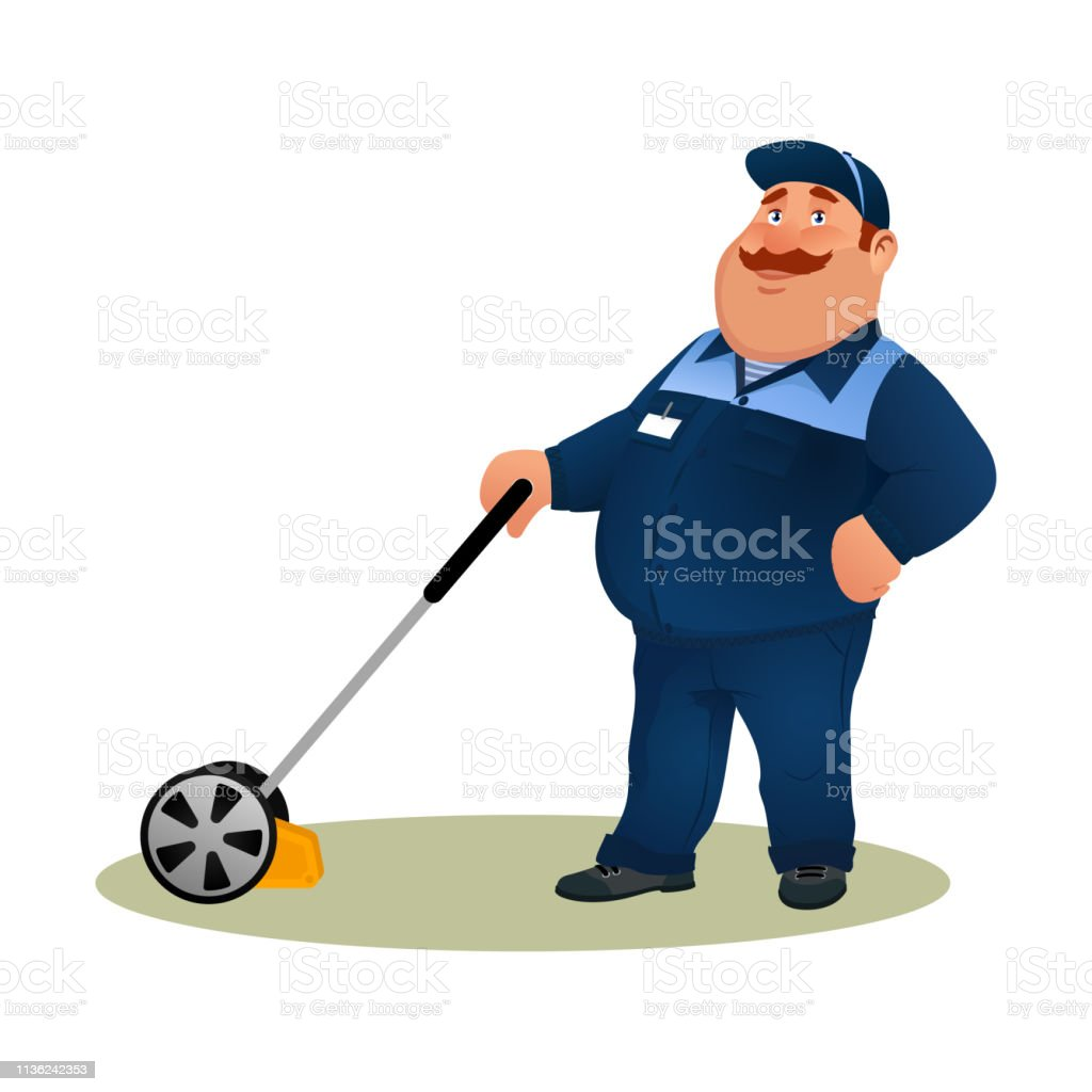 Funny Cartoon Farmer With Lawn Mower Smiling Fat Character