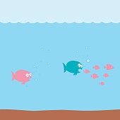 funny cartoon fishes underwater