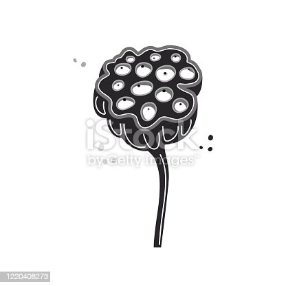 Funny cartoon flower isolated on white background. Plant Nelumbo Nucifera. Hand drawn monochrome clipart with text place. Stock vector illustration. Botanical wall poster in flat style for kids room.