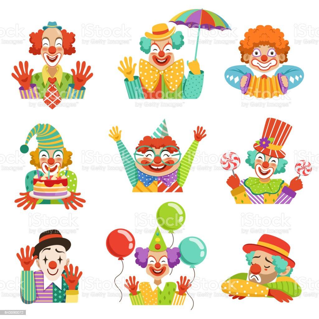 Freundlichen Clowns Lustige Cartoon Charakter Bunten