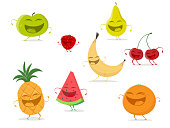 funny cartoon fruit collection