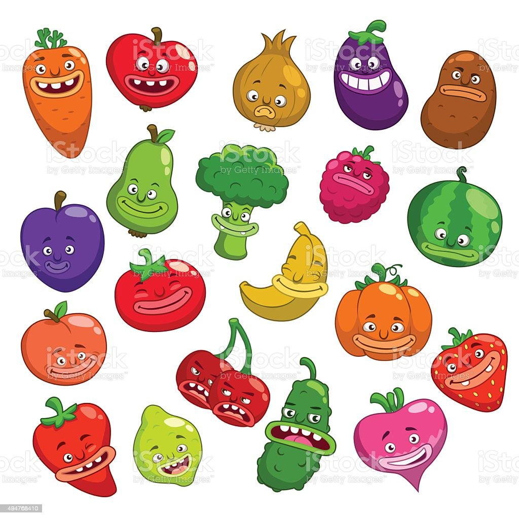Funny Cartoon Fruits And Vegetables Characters Stock ...