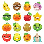 Funny Cartoon Fruits and Vegetables with Different Emotions Set2. Isolated on white background. Clipping paths included.