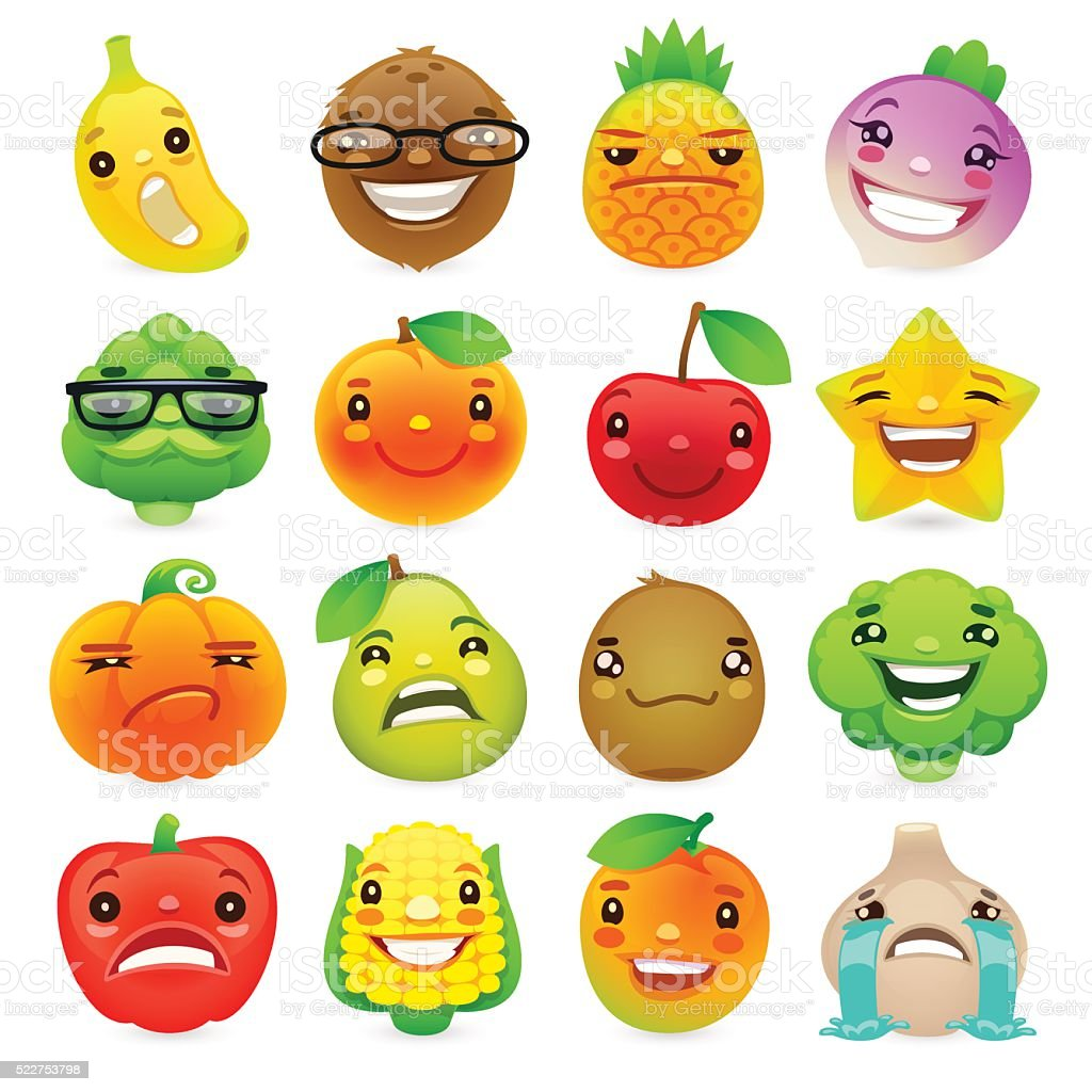 Funny Cartoon Fruits and Vegetables with Different Emotions Set2 vector art illustration