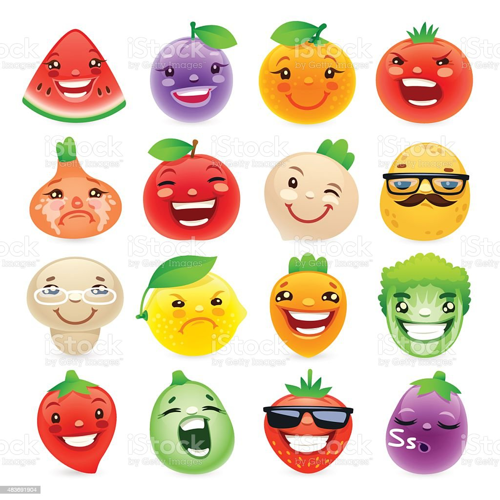 funny cartoon fruits and vegetables with different emotions stock