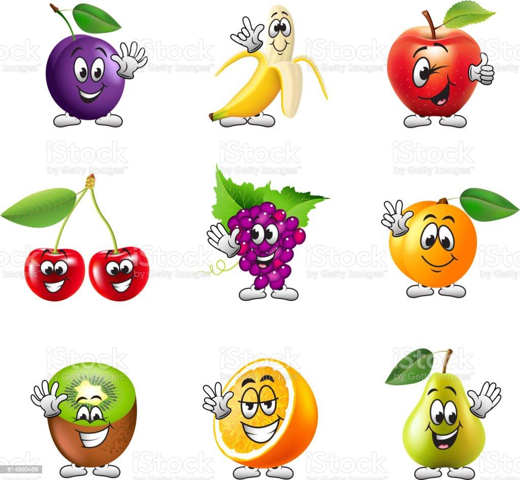 Funny cartoon fruits icons vector set vector art illustration
