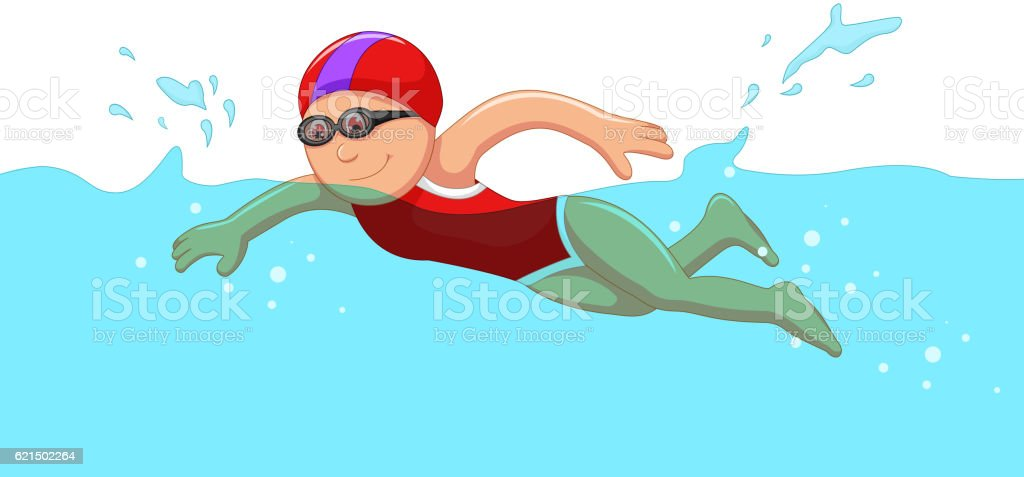 funny cartoon girl swimmer in the swimming pool Lizenzfreies funny cartoon girl swimmer in the swimming pool stock vektor art und mehr bilder von erwachsene person