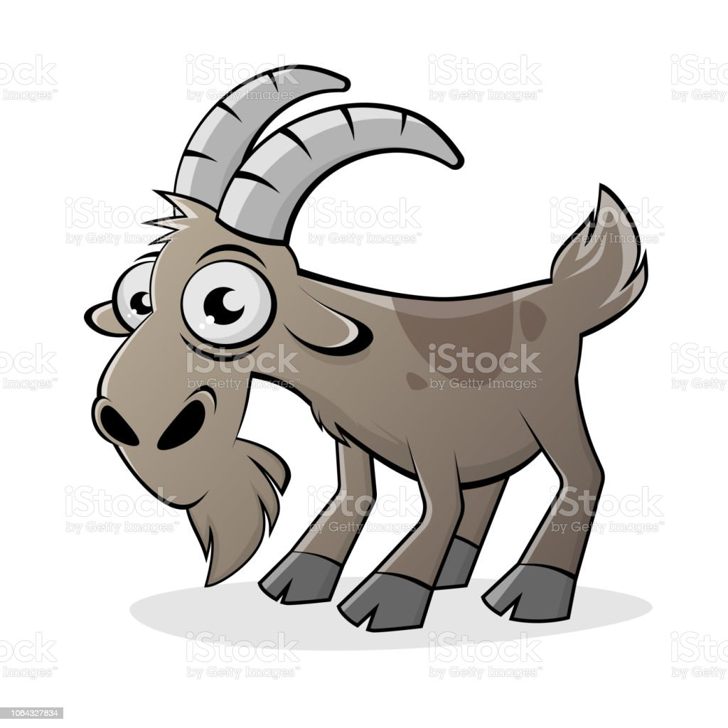 funny cartoon goat isolated vector illustration vector art illustration