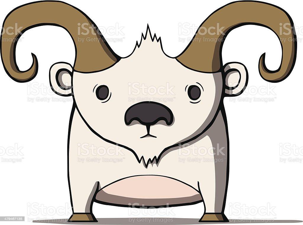 Oiseau drôle en dessin animé de chèvre.  illustration vectorielle - Illustration vectorielle
