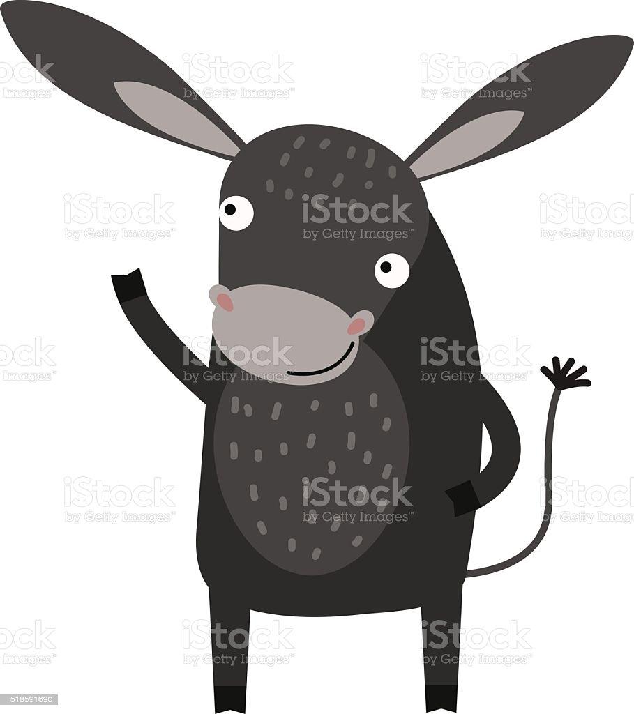 Fumetto di grigio asino carattere vettoriale animali della fattoria - illustrazione arte vettoriale