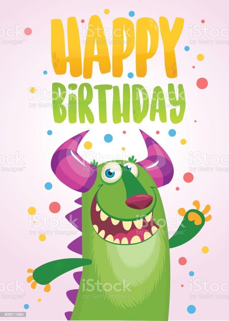 Funny Cartoon Green Monster Happy Birthday Card Vector Illustration
