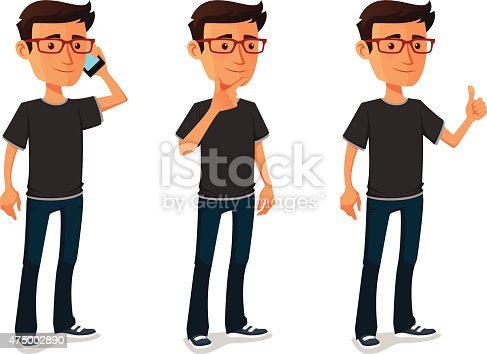 istock funny cartoon guy in various poses 475002890