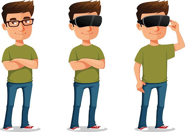 funny cartoon guy using virtual reality glasses vector art illustration