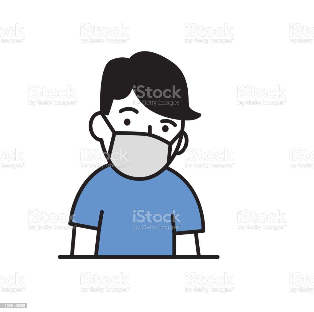 Vetores De Tipo De Desenho Animado Com Medica Mascara Para Protecao De Doencas Respiratorias Icone Do Projeto Dos Desenhos Animados Ilustracao Em Vetor Plana Isolado No Fundo Branco E Mais Imagens De
