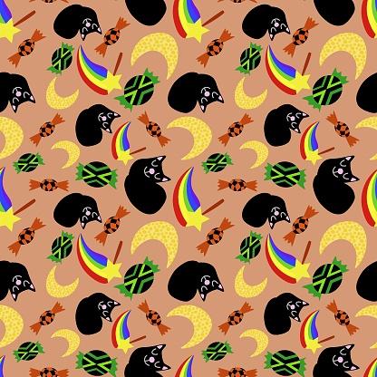 Funny cartoon halloween vector seamless pattern