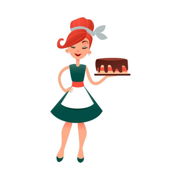 ilustraciones, imágenes clip art, dibujos animados e iconos de stock de ama de casa de dibujos animados divertidos con pastel. ama de casa feliz vector con productos de panadería. hermosa mujer en viejo estilo retro. señora joven para hornear pastel - busy restaurant kitchen
