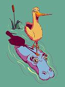 Funny cartoon illustration - Bird riding a hippopotamus.