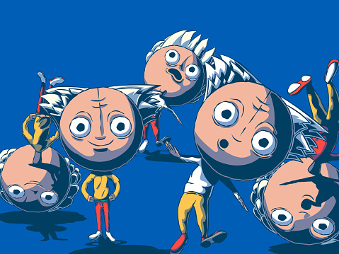 Funny cartoon illustration - Clumsy people with big heads.