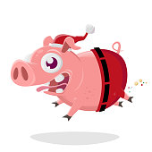 funny cartoon illustration of a crazy pig in santa claus costume