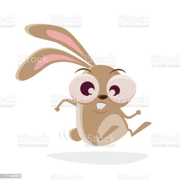 Funny cartoon illustration of a crazy rabbit hopping vector id1171565900?b=1&k=6&m=1171565900&s=612x612&h=kkdz8dzta5kw6oxh4de smhjbximqwpe3e owk9peeq=