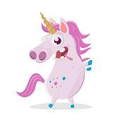 funny cartoon illustration of a crazy unicorn