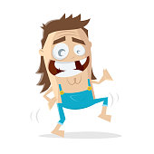 funny cartoon illustration of a dancing hillbilly