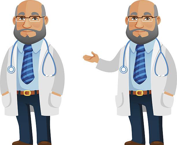funny cartoon illustration of a friendly doctor - old man glasses cartoon stock illustrations, clip art, cartoons, & icons