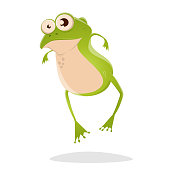 funny cartoon illustration of a frog
