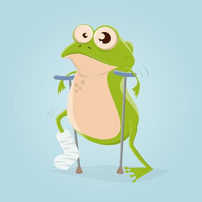 funny cartoon illustration of a frog with broken leg