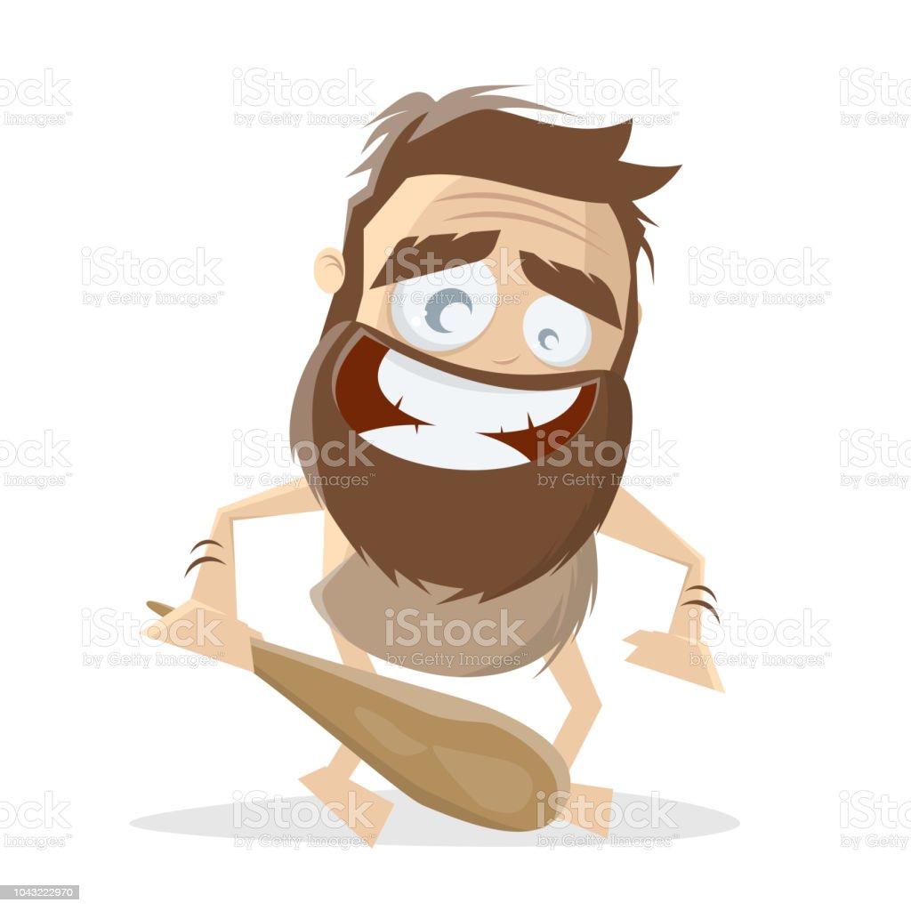Illustration De Dessin Anime Drole Dun Homme Prehistorique