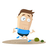 funny cartoon illustration of a running cartoon man