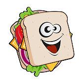 funny cartoon illustration of a sandwich