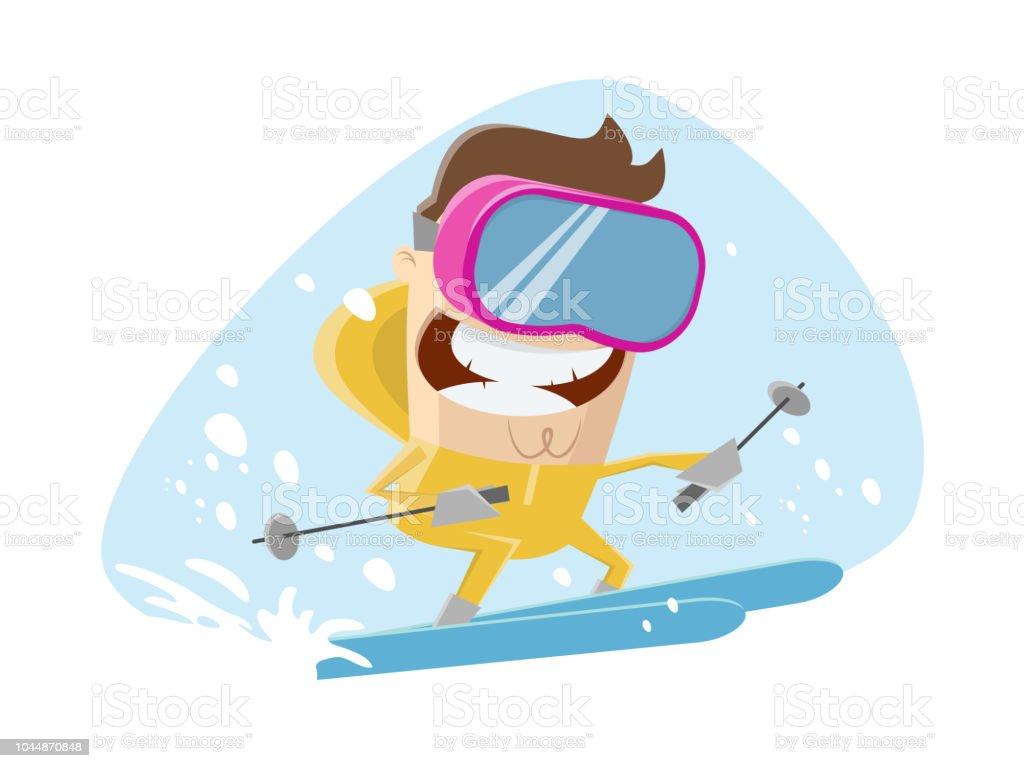 Lustige Karikatur Illustration Eines Mannes Skifahren Stock Vektor