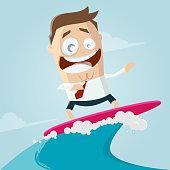 funny cartoon illustration of a surfing businessman
